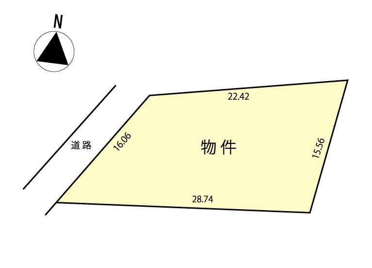 区画図・西側の前面道路は公道で約4m幅員です。
